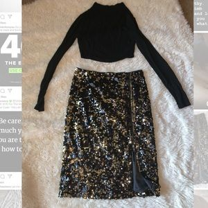 Gold black sequin pencil skirt